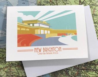 New Brighton  - Open air bathing pool - Mersey - greetings card - Swimming pool - Travel Poster - thejonesboys - the jones boys