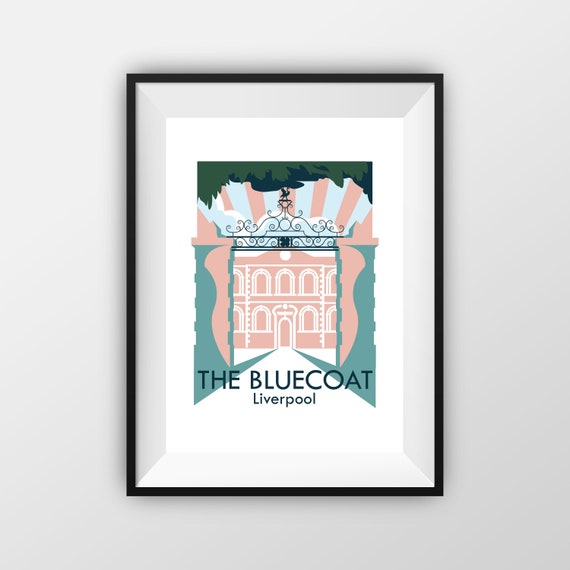 The Blue Coat Liverpool - Landmarks - Travel Poster - Embossed travel poster art print - the jones boys