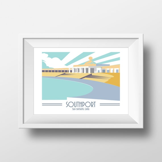 Southport Lido - Landmarks - Travel Poster - Embossed travel poster art print - the jones boys