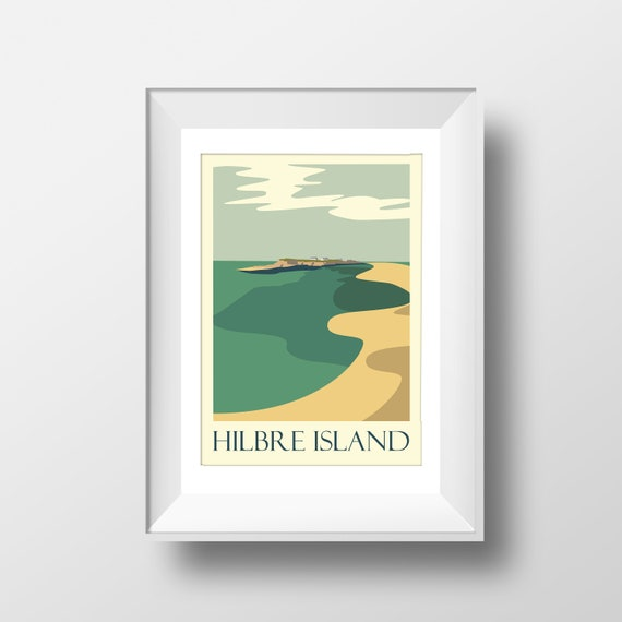 Hilbre Island - Wirral - Landmarks - Travel Poster - Embossed travel poster art print - the jones boys