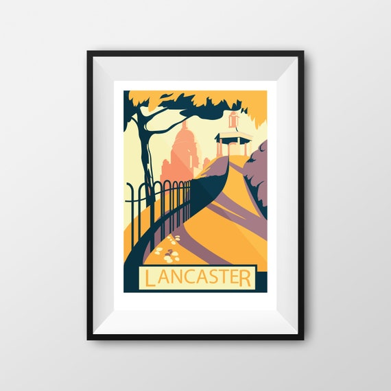 Lancaster Williamson Park - Landmarks - Travel Poster - Embossed travel poster art print - the jones boys