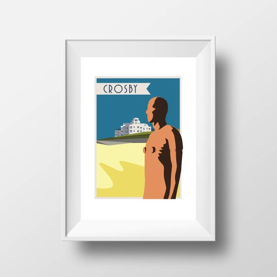Crosby Iron Men Liverpool - Landmarks - Travel Poster - Embossed travel poster art print - the jones boys