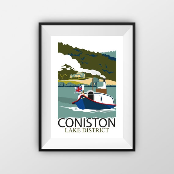 Coniston Water - Lake District - Travel Poster - the jones boys