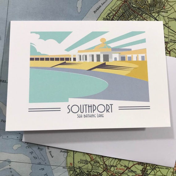 Southport  - Sea bathing lake - Mersey - greetings card - Swimming pool - Travel Poster - thejonesboys - the jones boys