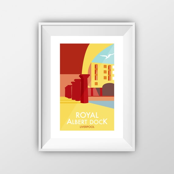 Royal Albert Dock Liverpool - Landmarks - Travel Poster - Embossed travel poster art print - the jones boys