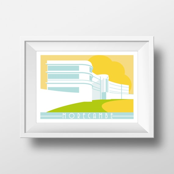 Morecambe Midland Hotel - Landmarks - Travel Poster - Embossed travel poster art print - the jones boys