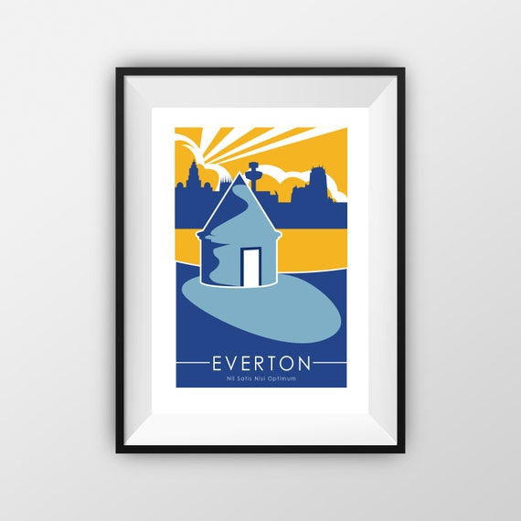 Everton Football Club - Landmarks - Travel Poster - Embossed travel poster art print - the jones boys