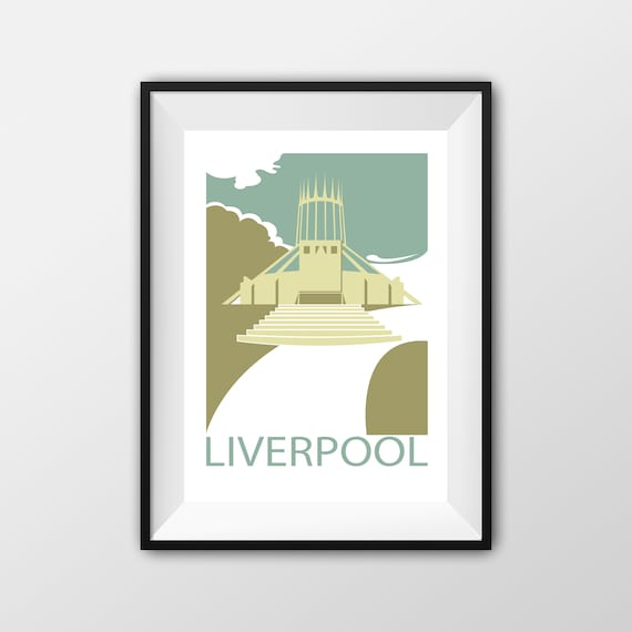Metropolitan Cathedral Liverpool - Landmarks - Travel Poster - Embossed travel poster art print - the jones boys