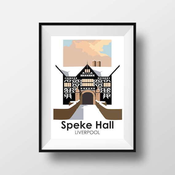 Speke Hall Liverpool - Landmarks - Travel Poster - Embossed travel poster art print - the jones boys