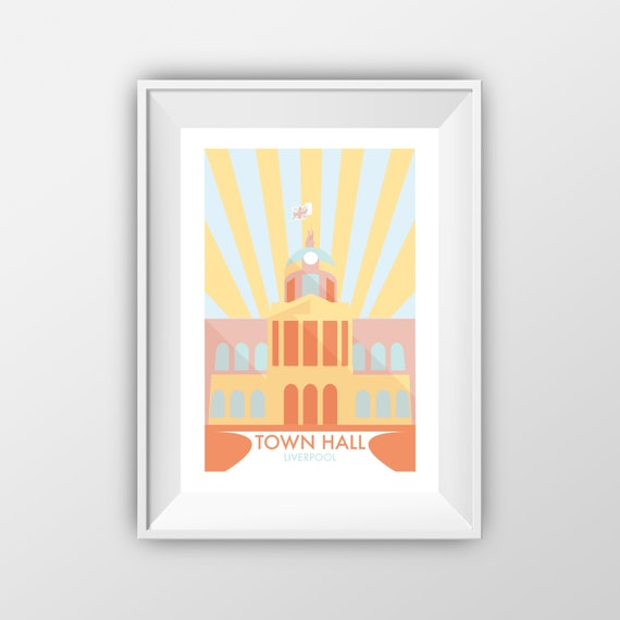 Liverpool Town Hall - Landmarks - Travel Poster - the jones boys