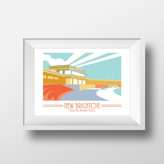 New Brighton - Landmarks - Travel Poster - Embossed travel poster art print - the jones boys