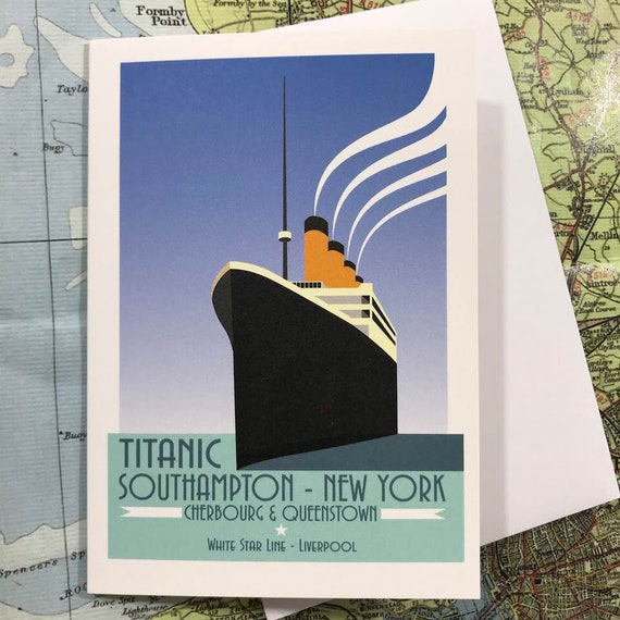 Titanic - Ocean Liner - Liverpool - greetings card - Atlantic - Travel Poster - thejonesboys - the jones boys