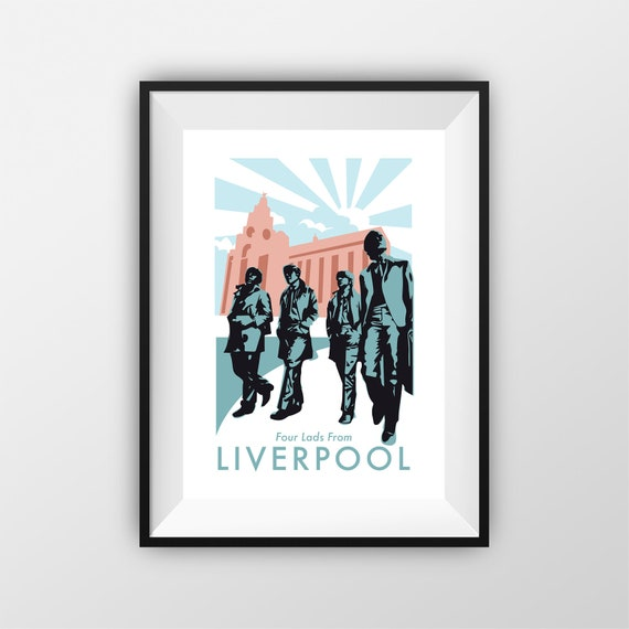 The Beatles - Beatles Statue - Travel Poster - Embossed travel poster art print - the jones boys
