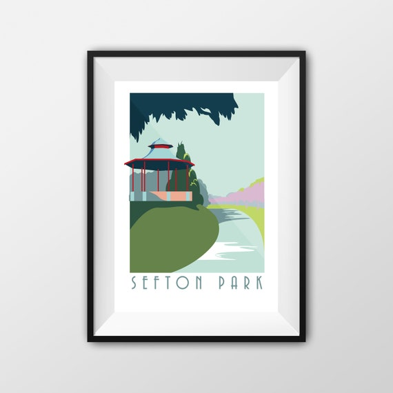 Sefton Park - Landmarks - Travel Poster - Embossed travel poster art print - the jones boys