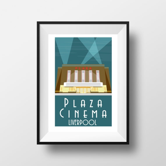 Plaza Cinema Liverpool - Landmarks - Travel Poster - Embossed travel poster art print - the jones boys