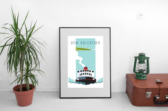 Ferry - Meresy Ferry - Liverpool - River Mersey - Travel Poster - thejonesboys - Liverpool prints - the jones boys