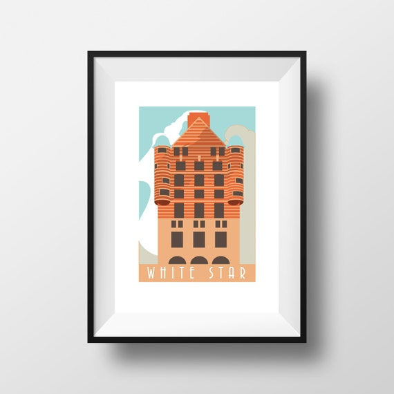 White Star Building Liverpool - Landmarks - Travel Poster - Embossed travel poster art print - the jones boys