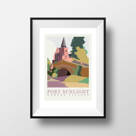 Port Sunlight Wirral - Landmarks - Travel Poster - Embossed travel poster art print - the jones boys