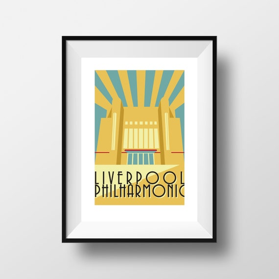 Liverpool Philharmonic -  Landmarks - Travel Poster - Embossed travel poster art print - the jones boys