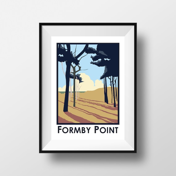 Formby Point - Landmarks - Travel Poster - Embossed travel poster art print - the jones boys