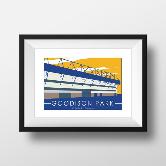 Everton Football Club - Goodison Park - Landmarks - Travel Poster - Embossed travel poster art print - the jones boys