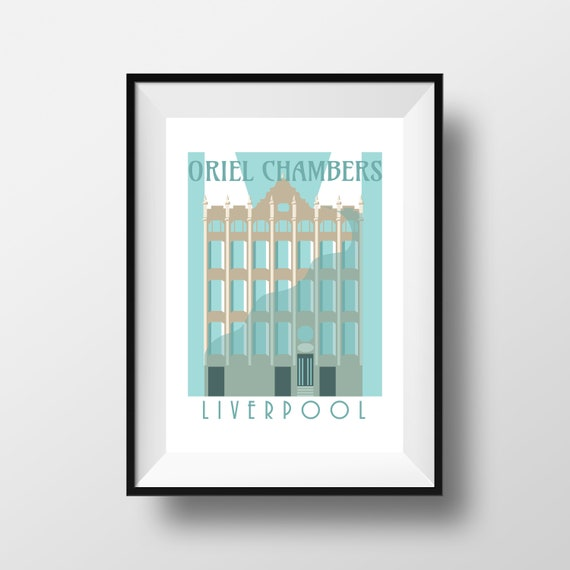 Oriel Chambers Liverpool - Landmarks - Travel Poster - Embossed travel poster art print - the jones boys
