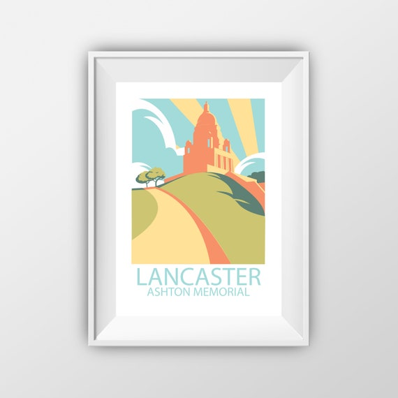Lancaster Ashton Memorial - Williamson Park - Landmarks - Travel Poster - Embossed travel poster art print - the jones boys