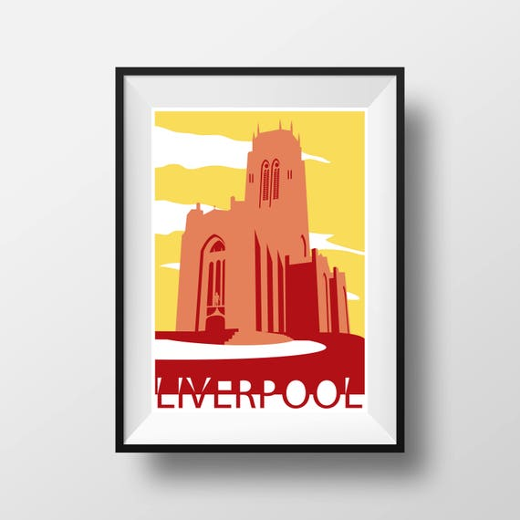 Anglican Cathedral - Landmarks - Travel Poster - Embossed travel poster art print - the jones boys