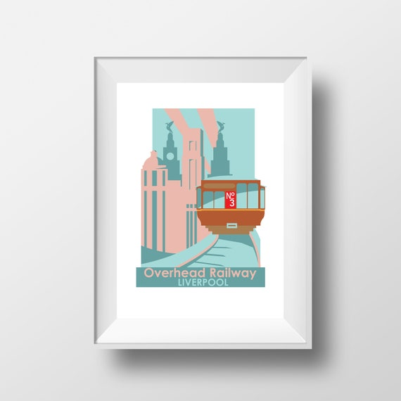 Overhead railway Liverpool - Landmarks - Travel Poster - Embossed travel poster art print - the jones boys
