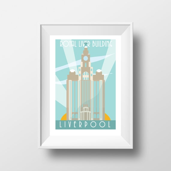 Royal Liver Building Liverpool - Landmarks - Travel Poster - Embossed travel poster art print - the jones boys