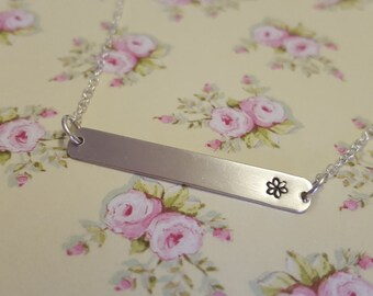 Sterling Silver Horizontal Necklace with Hand Stamped Flower, Tag Pendant, Bar Pendant