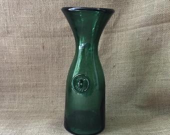 Vintage Glass Carafe--Green Glass Carafe--Vintage Italian Glass Carafe--Vintage Italian Wine Carafe--Vintage Glass Decanter--Small Glass Jug