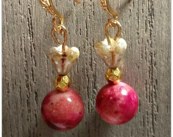 Handcrafted Beaded Earrings with Jade Stones and Shiny Gold Hooks, Costume Jewelry,