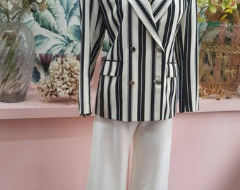 3251867feab1 Stunning double breasted 80s vintage black and white striped boating blazer