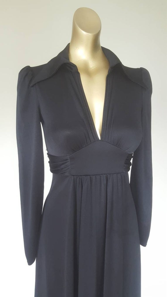 Stunning chic studio 54 black 70s maxi dress