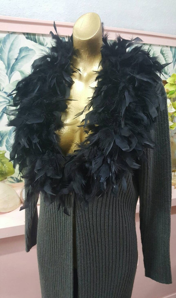 80s feather boa knitted coat etsy
