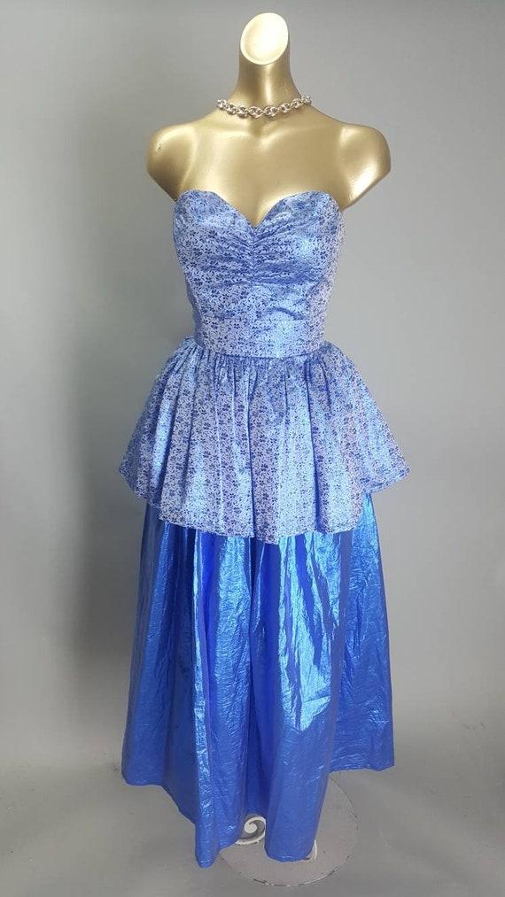 Beautiful cobalt blue lame brocade tinsel lame bal