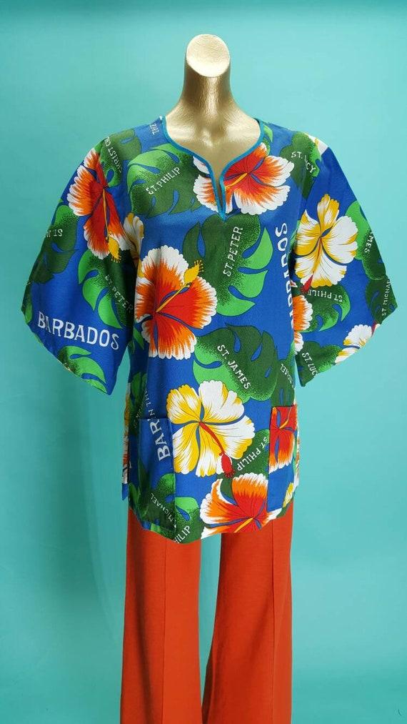 Stunning 60s vintage Barbados Caribbean midi tunic