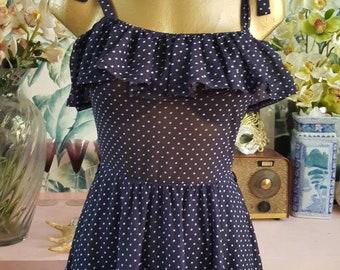 Beautiful 70s Brigitte Bardot ruffle polka dot midi dress