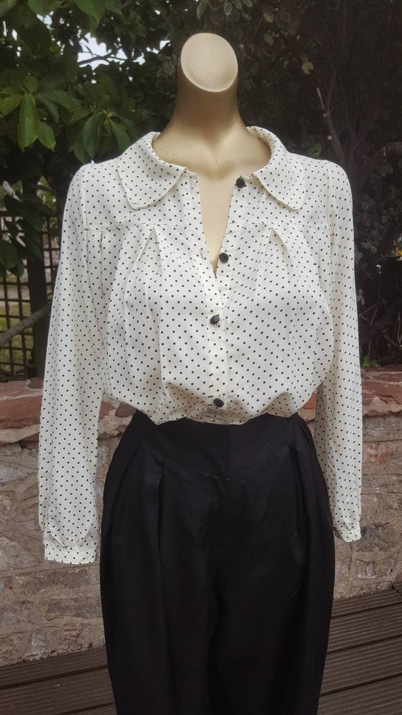 80s vintage peter pan collar polka dot smocked ple