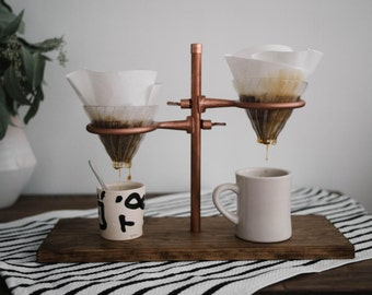 Double Pour Over Coffee Stand - Copper