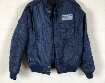 Vintage 90s Men/'s Navy Blue Jacket with diamond quilting Menswear Old School Clothing Size M