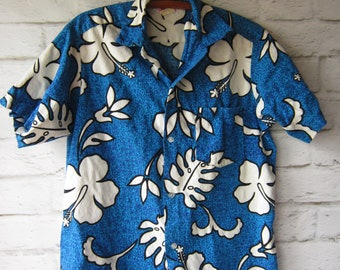 768f9ee1d798 Vintage Hawaiian Shirt Size Medium - Mens or Womens -Blue Floral - Aloha  Shirt Made in Honolulu