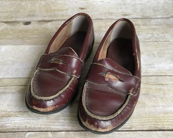 47f620cd6cc Vintage Children s Leather Penny Loafers - Size 11 - 11 1 2 - Brown Leather  - Slip On - Dress shoes - Kids - Boys - Girls