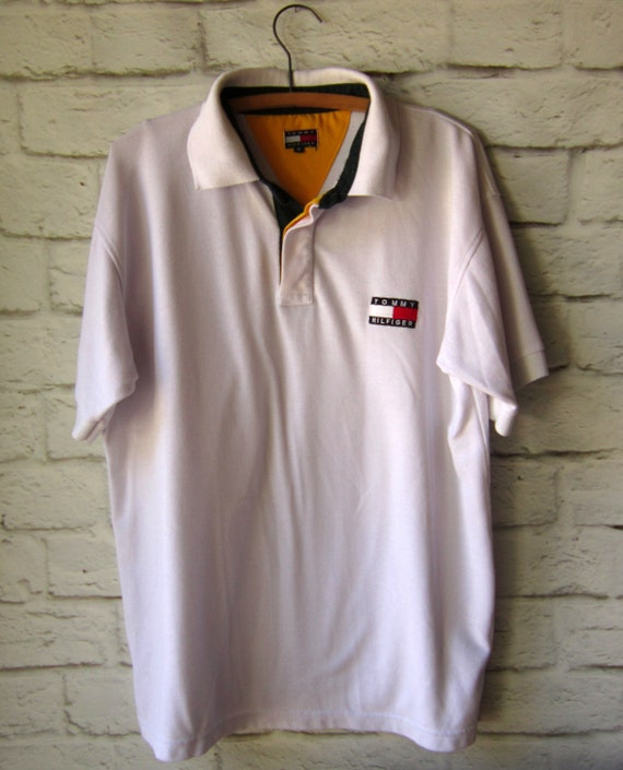 04b66a57f8f0 White Tommy Hilfiger Polo Shirt-Embroidered Logo hip hop