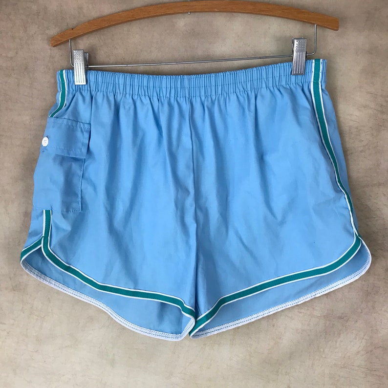7f01add34dc Vintage Swim Trunks Size Large Blue and Green Made in   Etsy