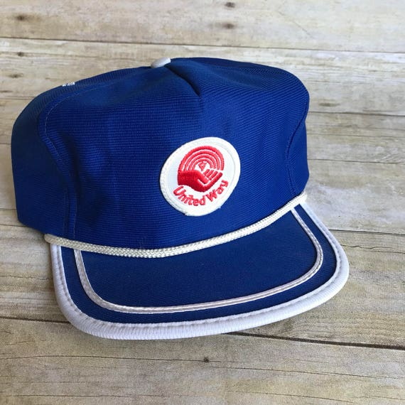 bddb89b5038 Vintage United Way Snap Back Hat Blue Hat Baseball Cap
