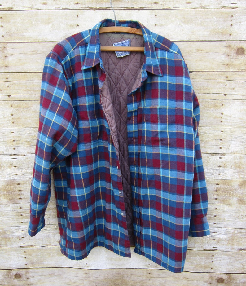 9fdcd4a7965 Vintage Quilted Flannel Blue Flannel Shirt Jacket Plaid