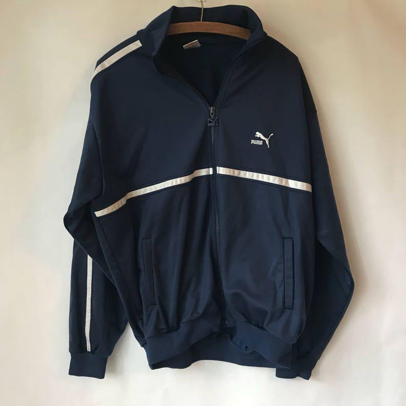 f3824572a0867 Vintage Puma Track Jacket - Sweatshirt - Zipper Front - Mens or Womens -  Streetwear - Retro Coat - Navy Blue - XL - Large