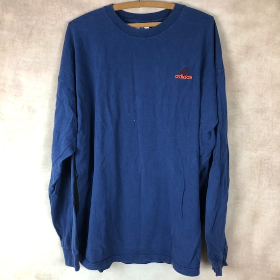 Vintage Adidas Long Sleeve T Shirt XL Extra Large Tee Blue Navy Embroidered